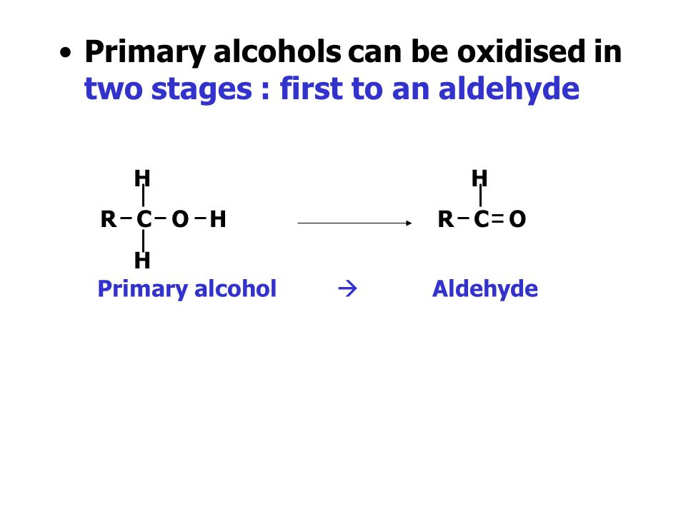 Primary alcohols can be oxidised in two stages : first to an aldehyde