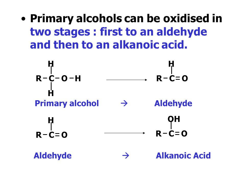 Primary alcohols can be oxidised in two stages : first to an aldehyde and then to an alkanoic acid.