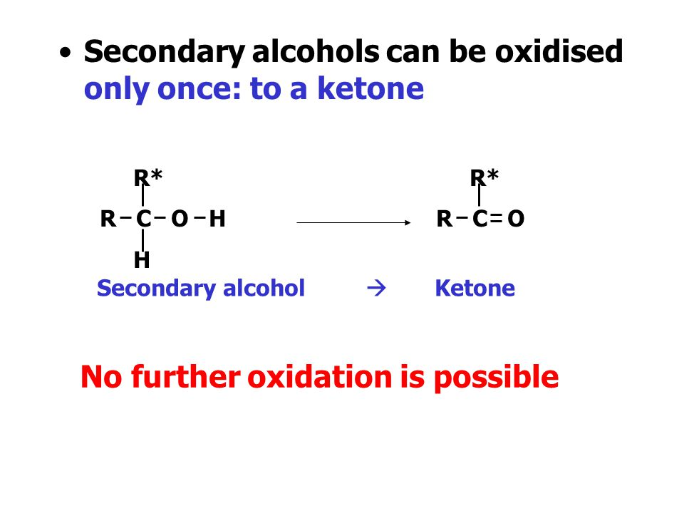 Secondary alcohols can be oxidised only once: to a ketone
