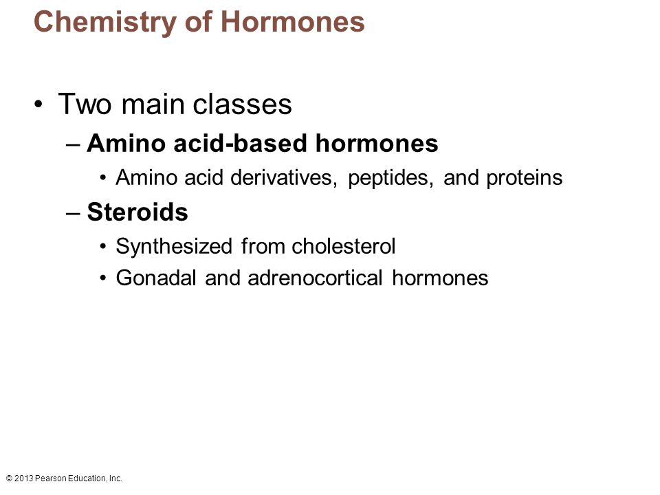 Chemistry of Hormones Two main classes Amino acid-based hormones