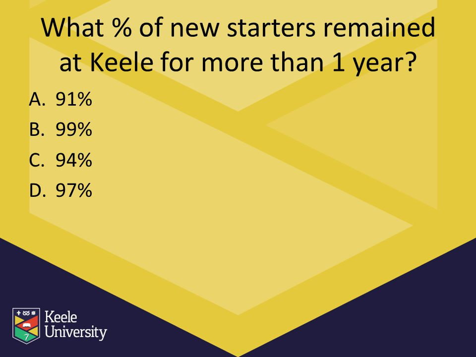 What % of new starters remained at Keele for more than 1 year