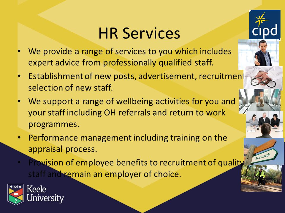 HR Services We provide a range of services to you which includes expert advice from professionally qualified staff.