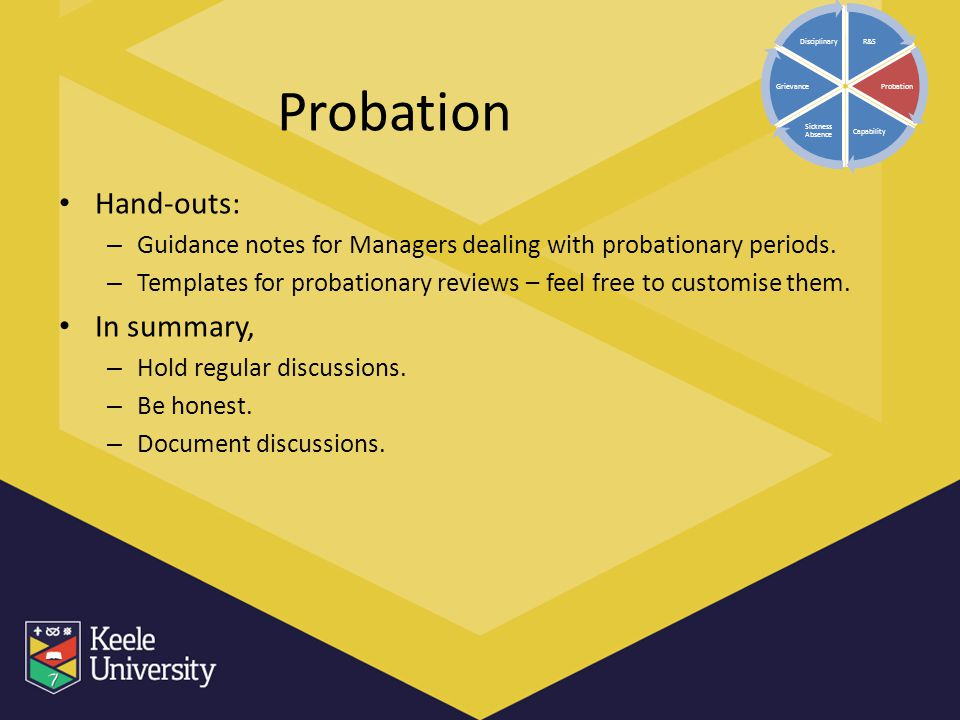 Probation Hand-outs: In summary,