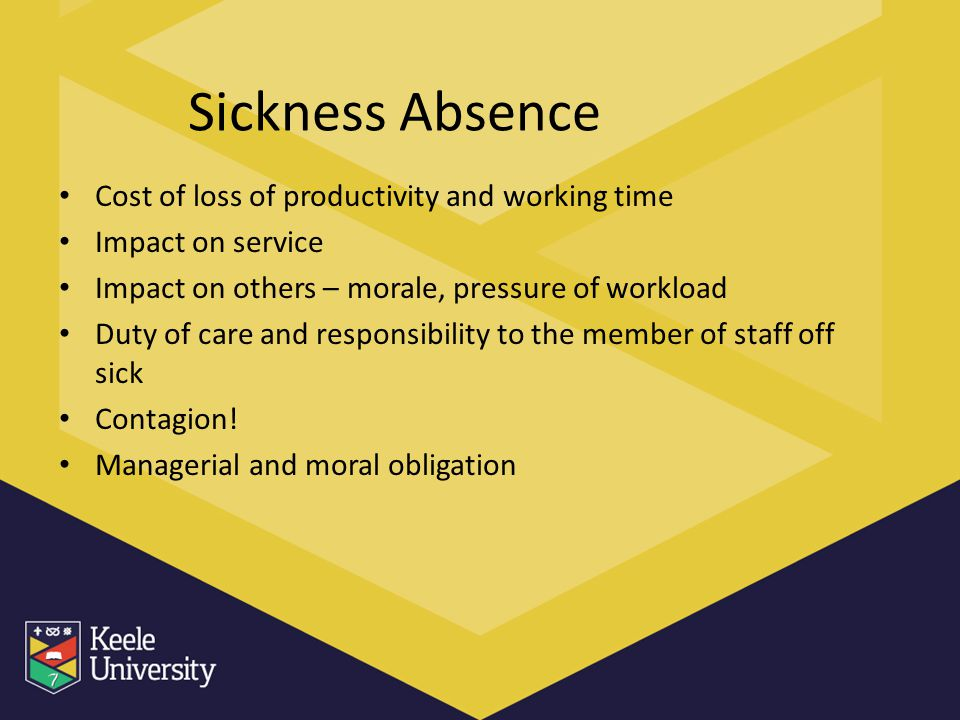Sickness Absence Cost of loss of productivity and working time