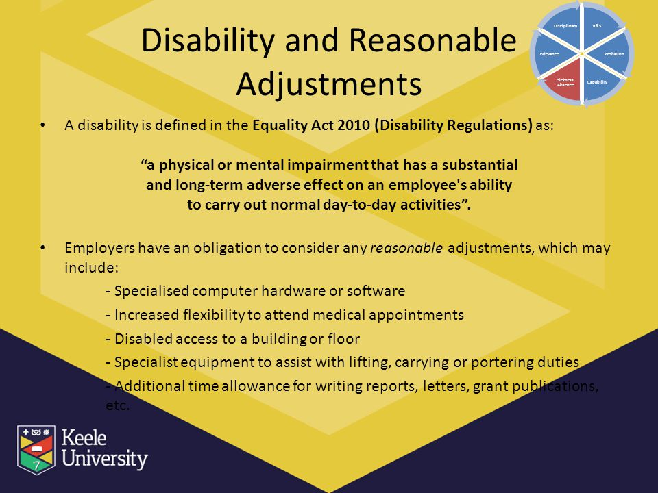 Disability and Reasonable Adjustments