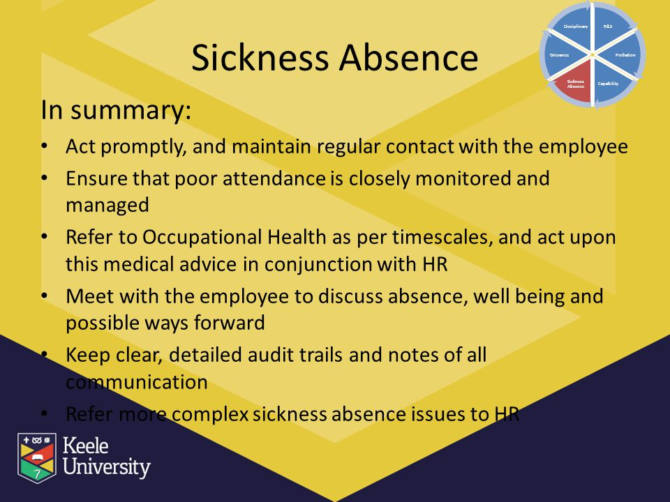 Sickness Absence In summary: