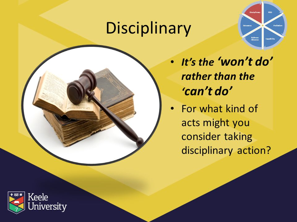 Disciplinary It's the 'won't do' rather than the 'can't do'