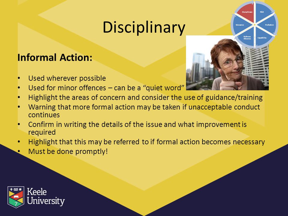Disciplinary Informal Action: Used wherever possible