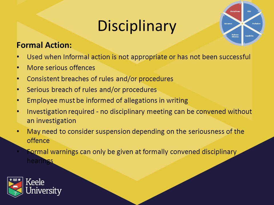 Disciplinary Formal Action: