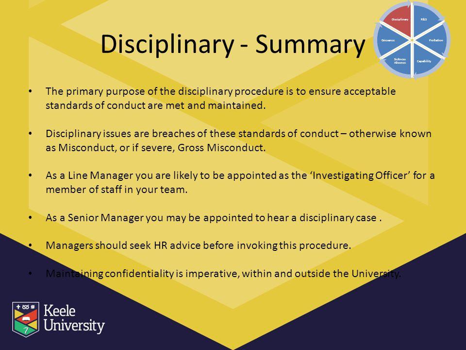 Disciplinary - Summary