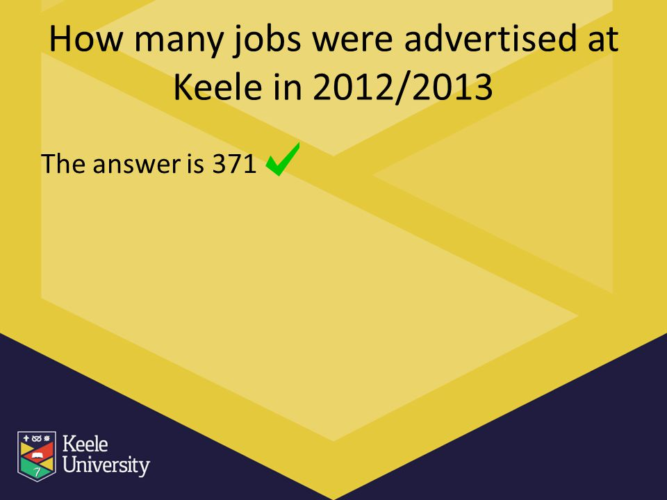 How many jobs were advertised at Keele in 2012/2013