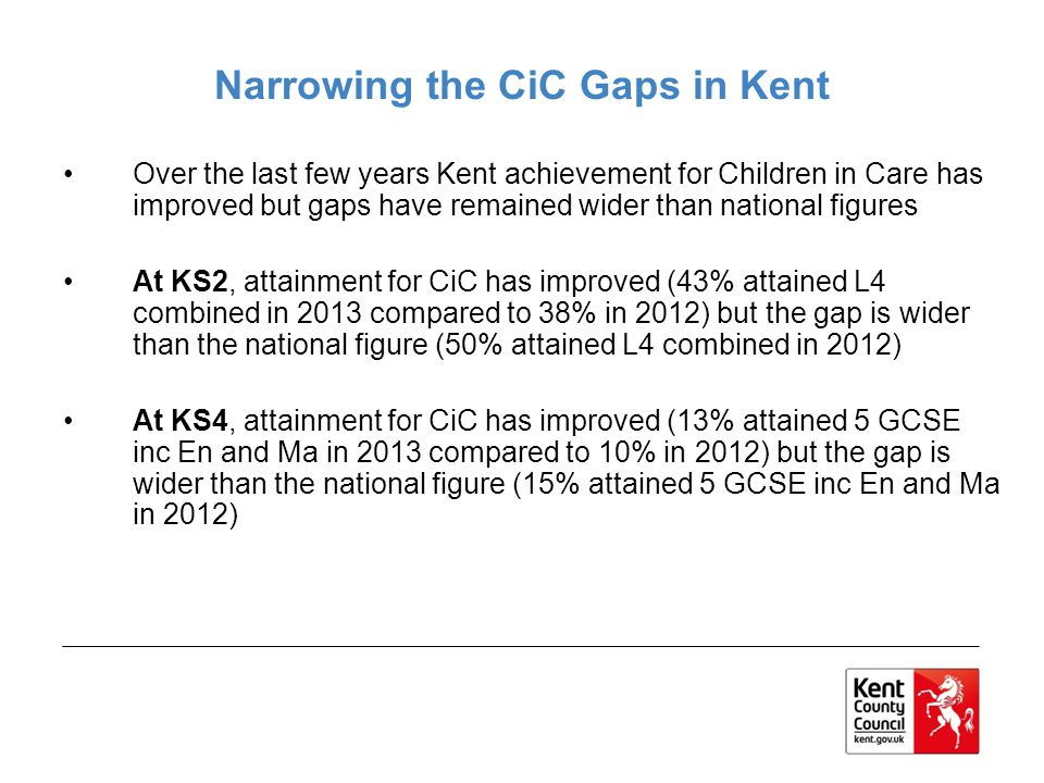 Narrowing the CiC Gaps in Kent