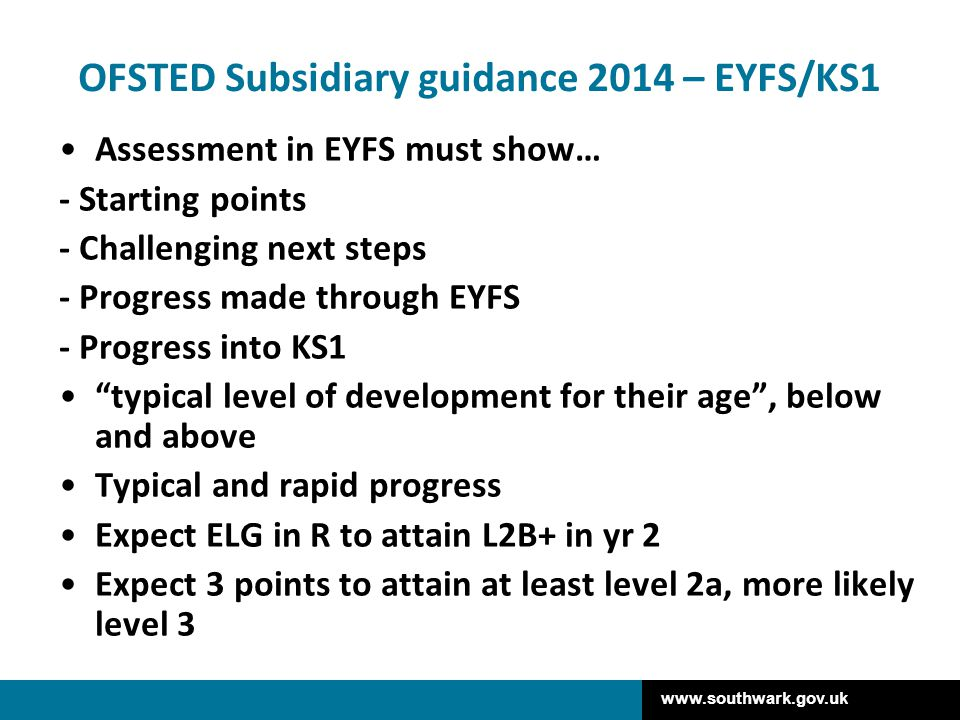 OFSTED Subsidiary guidance 2014 – EYFS/KS1