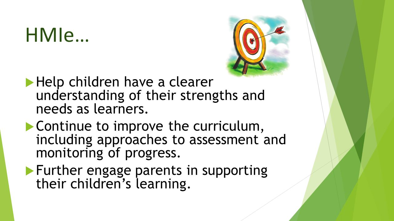HMIe… Help children have a clearer understanding of their strengths and needs as learners.