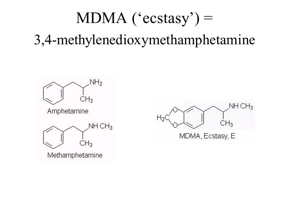 MDMA ('ecstasy') = 3,4-methylenedioxymethamphetamine