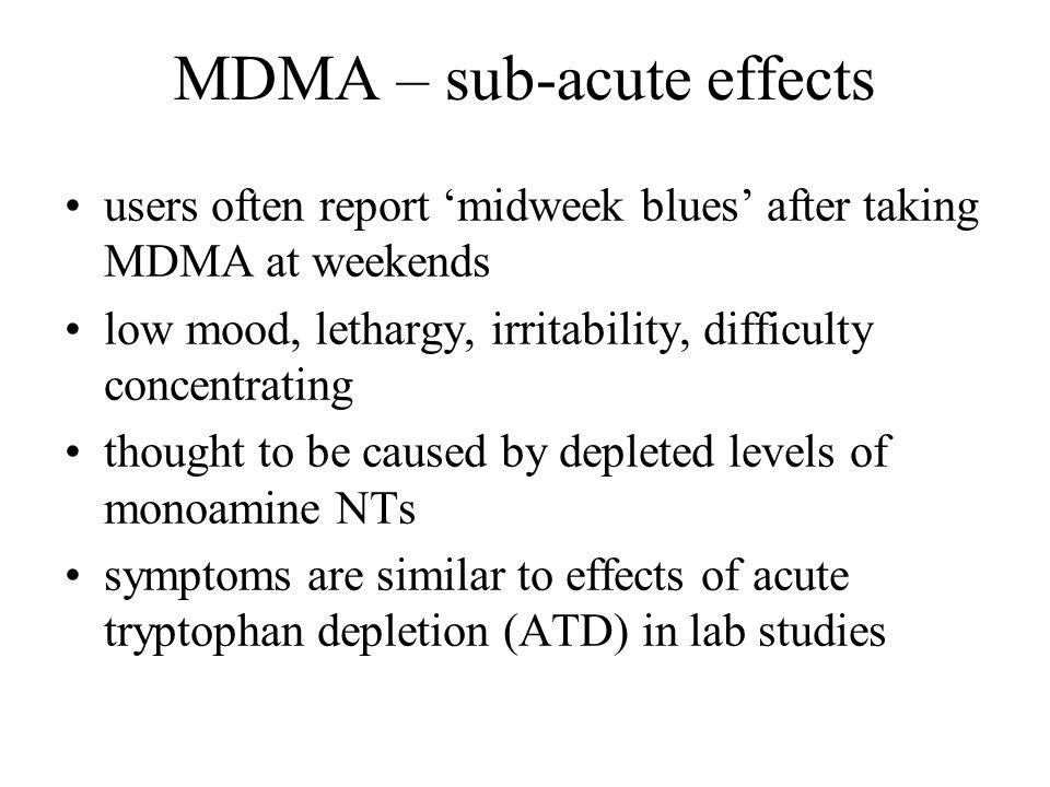 MDMA – sub-acute effects