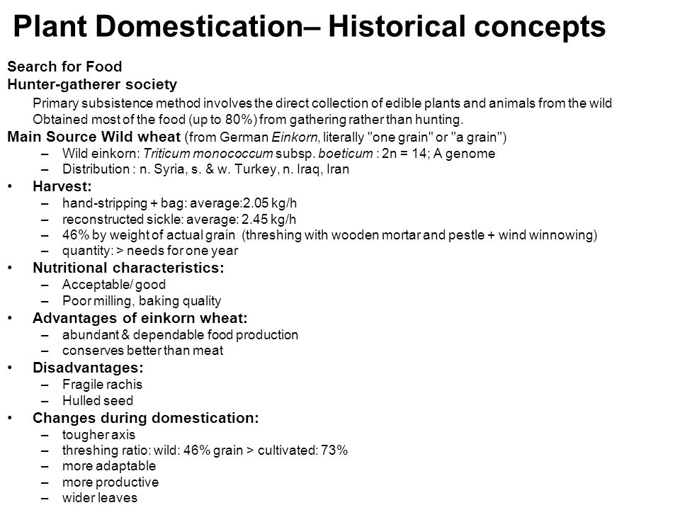 Plant Domestication– Historical concepts