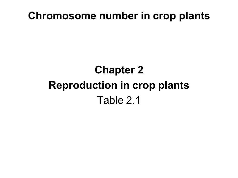 Chromosome number in crop plants