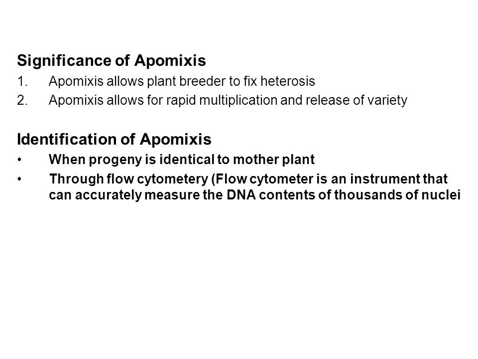 Significance of Apomixis