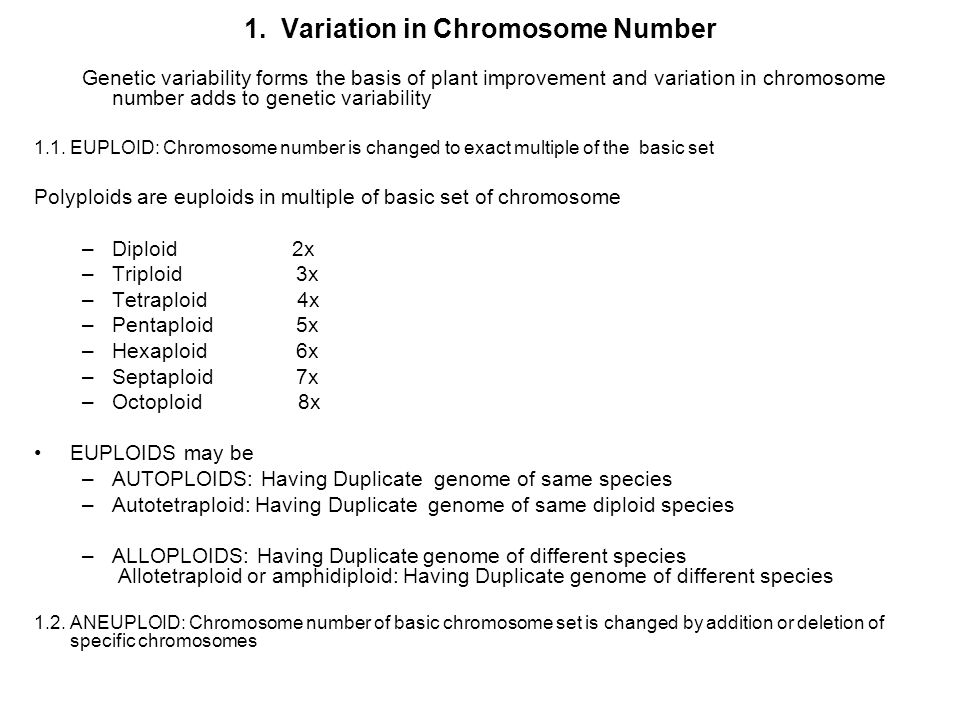 1. Variation in Chromosome Number