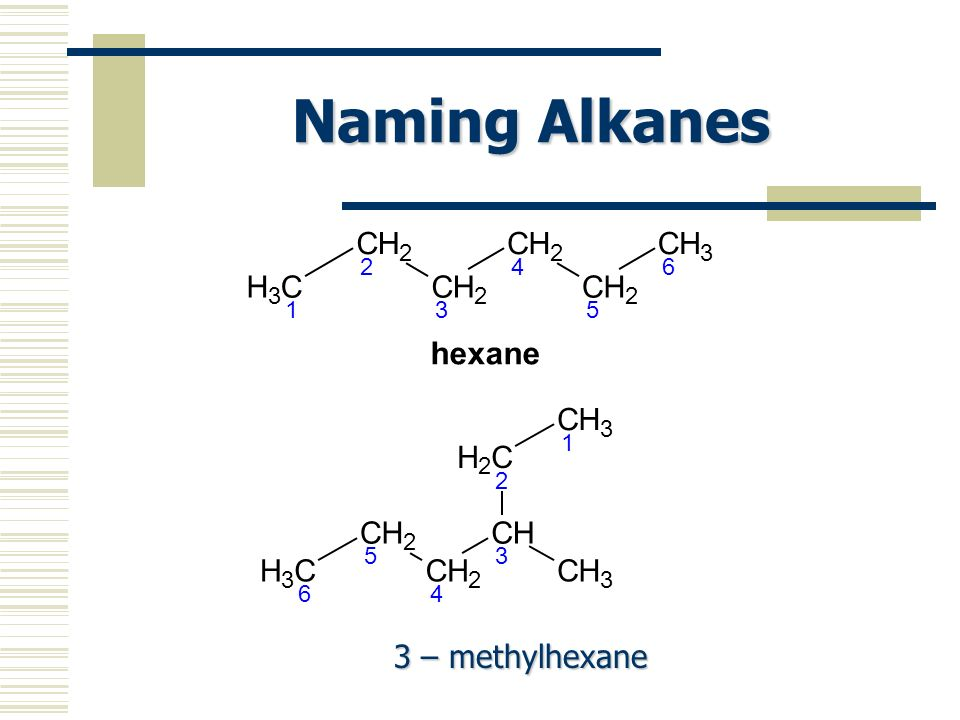 Naming Alkanes C H 3 1 2 4 5 6 hexane 3 – methylhexane