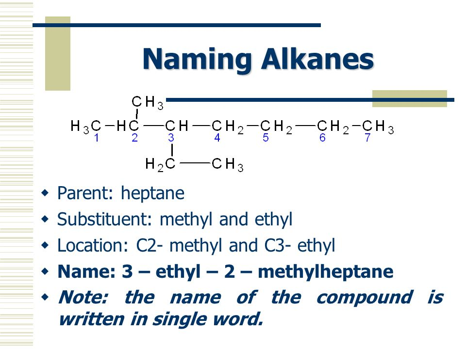 Naming Alkanes Parent: heptane Substituent: methyl and ethyl