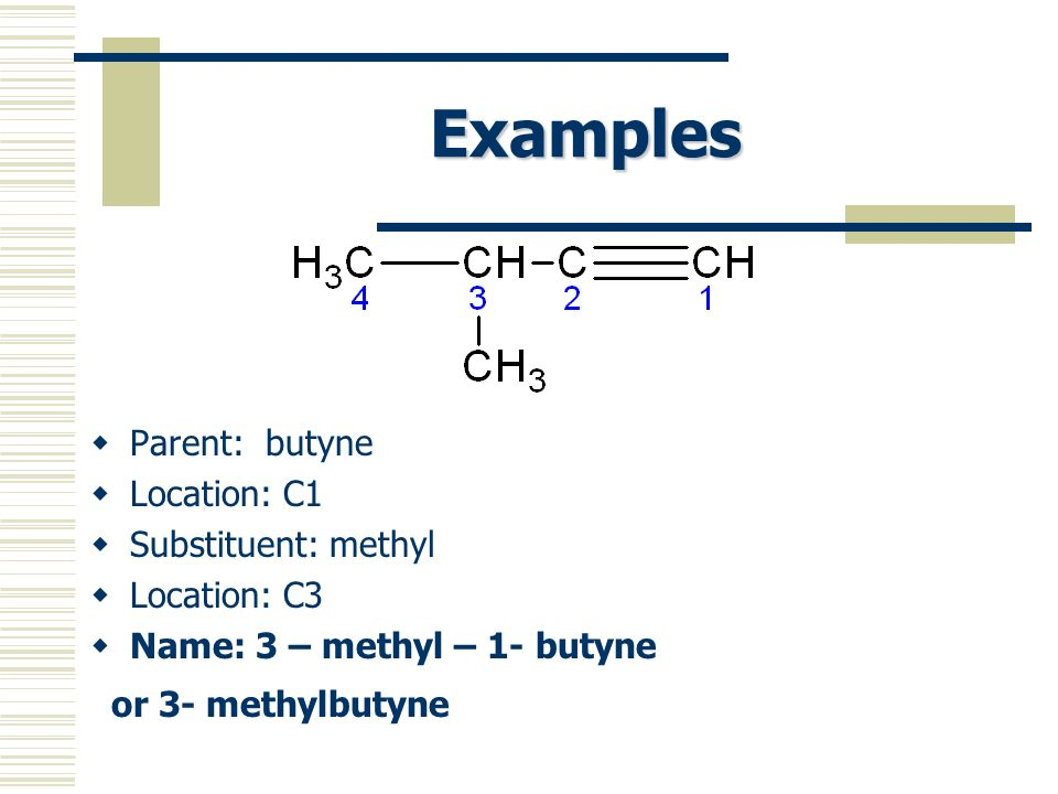 Examples Parent: butyne Location: C1 Substituent: methyl Location: C3