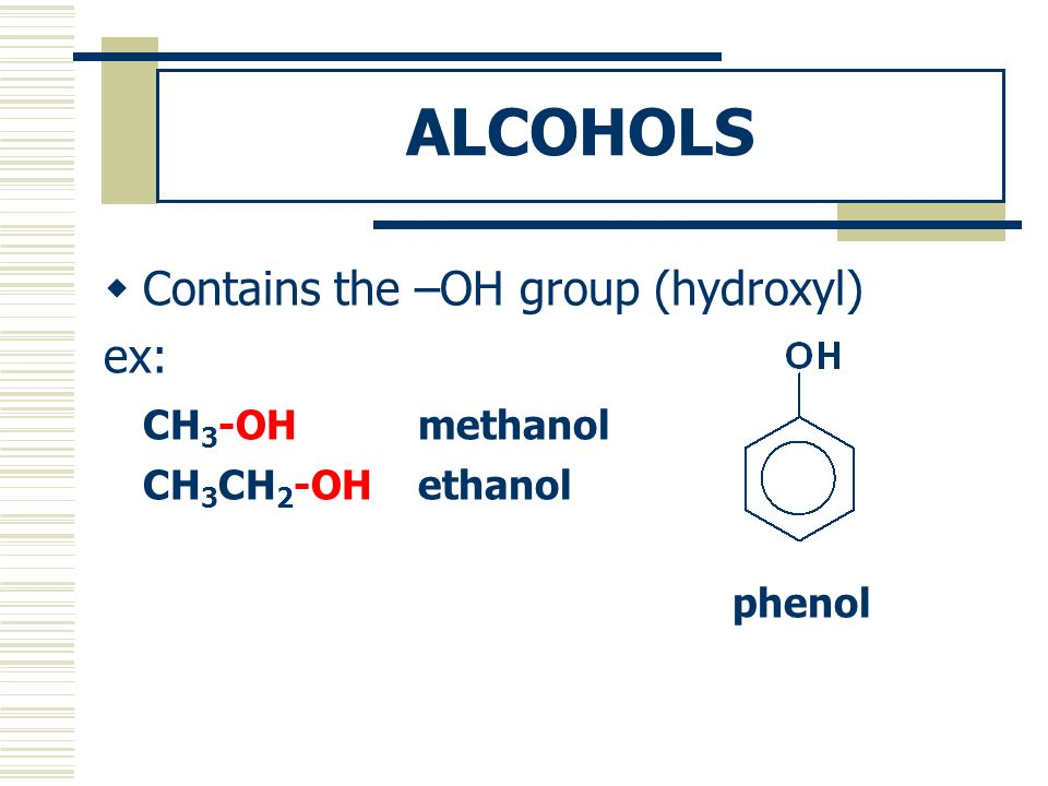 ALCOHOLS Contains the –OH group (hydroxyl) ex: CH3-OH methanol