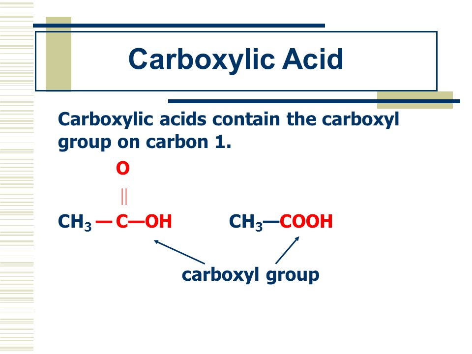 Carboxylic Acid Carboxylic acids contain the carboxyl group on carbon 1. O.  CH3 — C—OH CH3—COOH.
