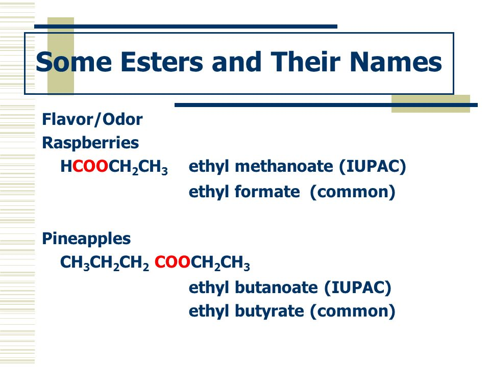 Some Esters and Their Names
