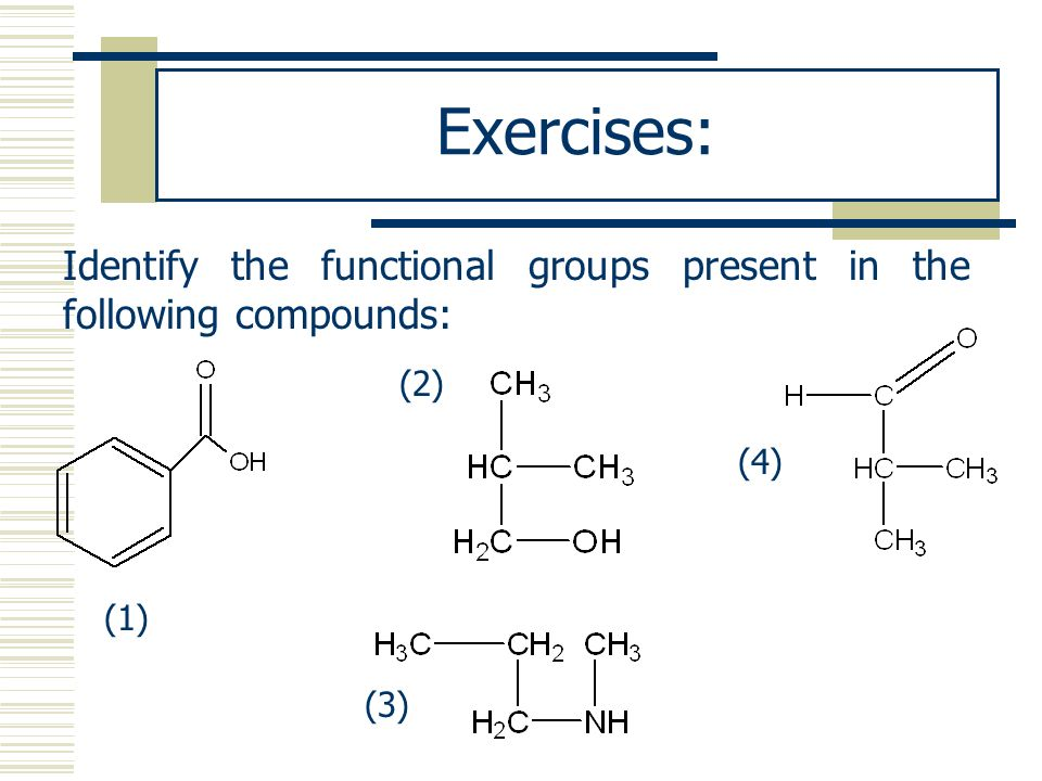 Exercises: Identify the functional groups present in the following compounds: (2) (4) (1) (3)