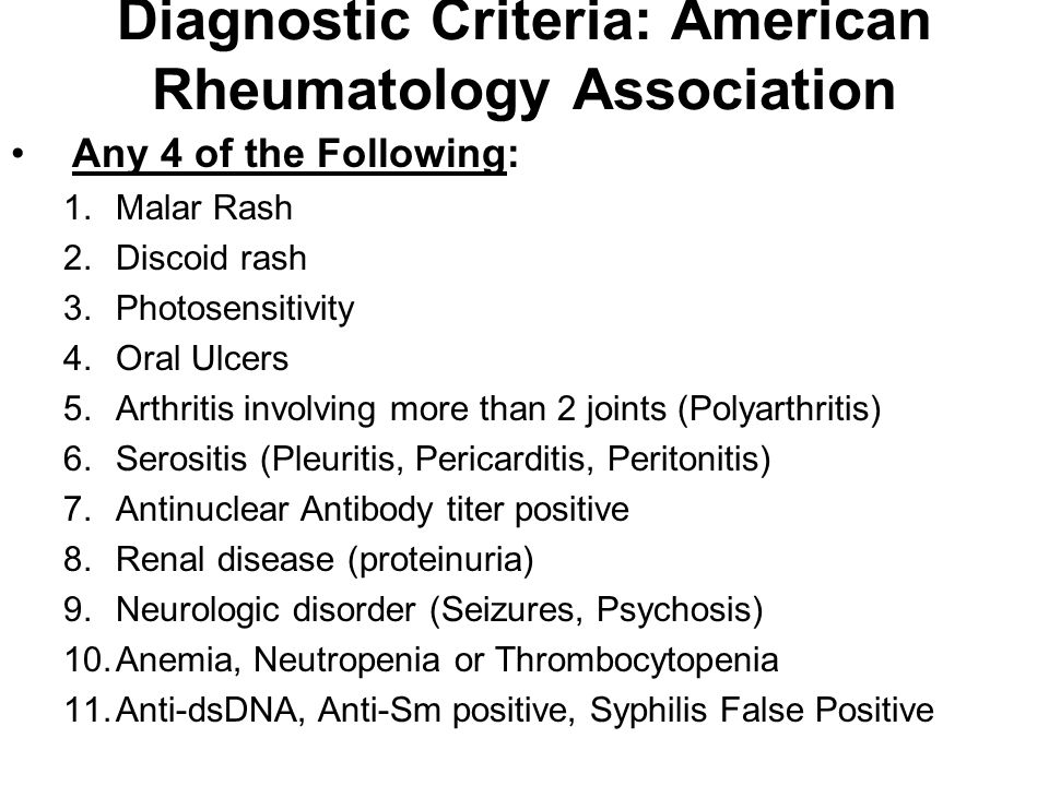 Diagnostic Criteria: American Rheumatology Association