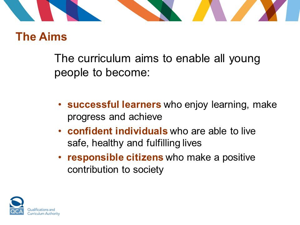 The curriculum aims to enable all young people to become: