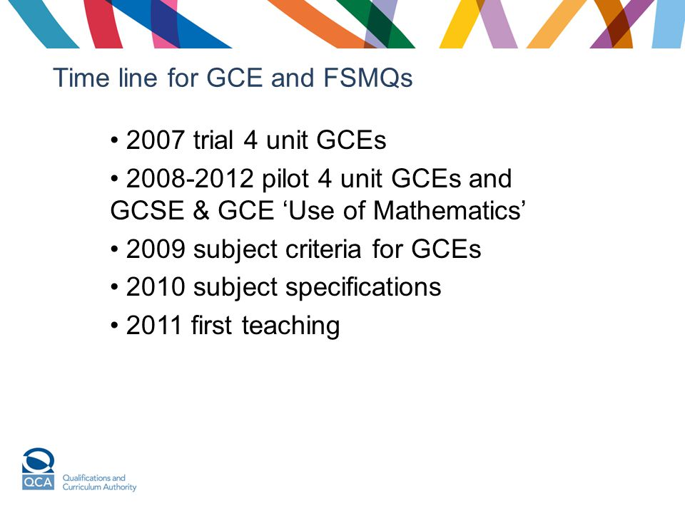 Time line for GCE and FSMQs