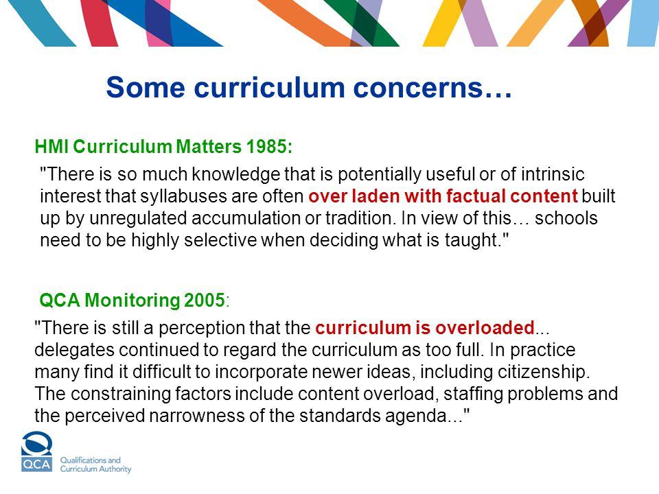 Some curriculum concerns…