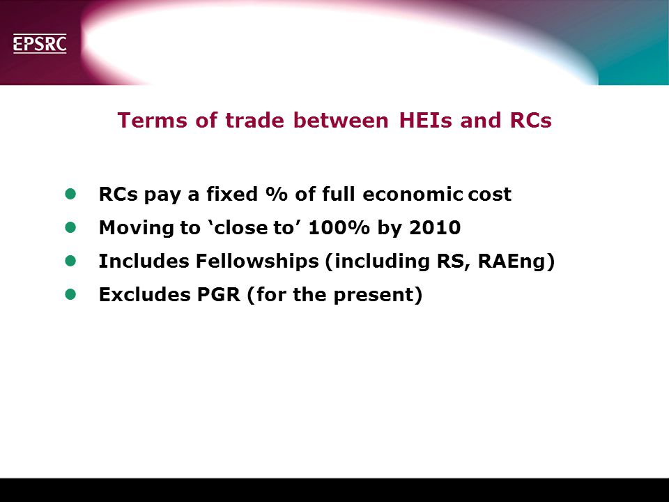 Terms of trade between HEIs and RCs
