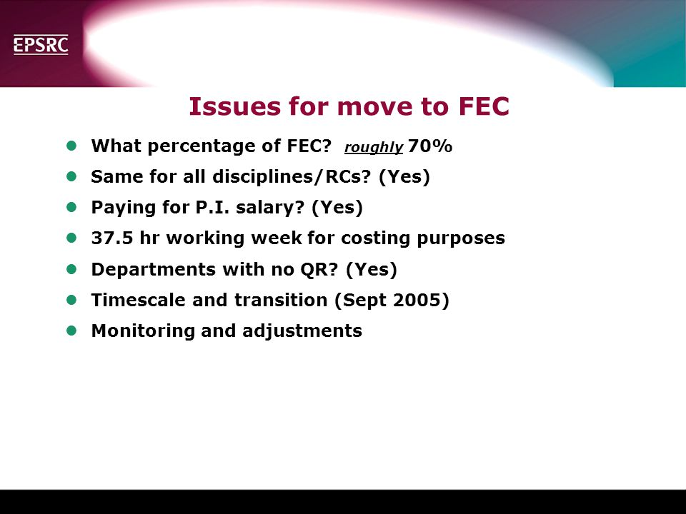 Issues for move to FEC What percentage of FEC roughly 70%