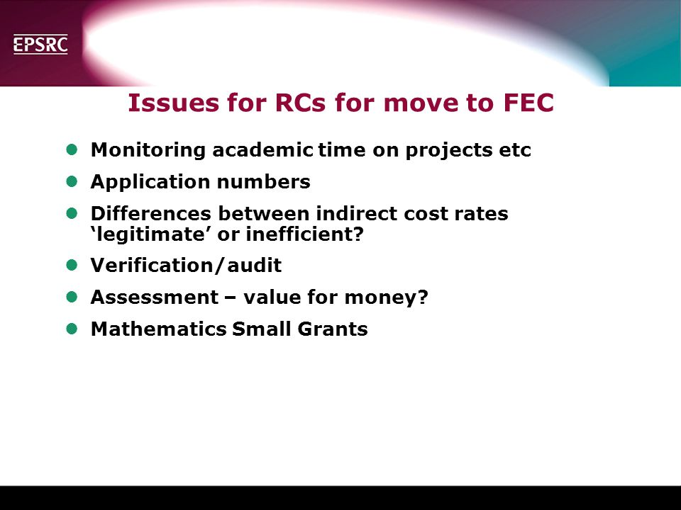 Issues for RCs for move to FEC