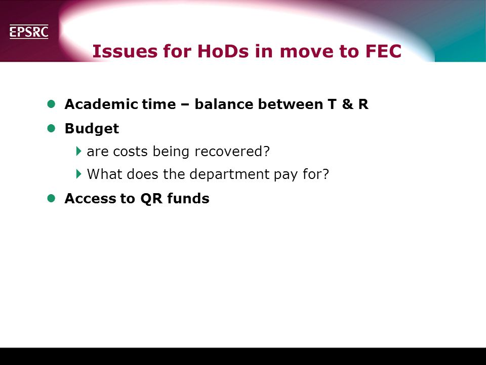Issues for HoDs in move to FEC