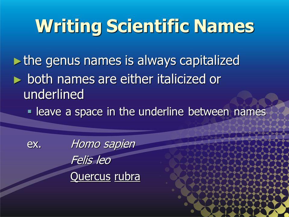 Writing Scientific Names