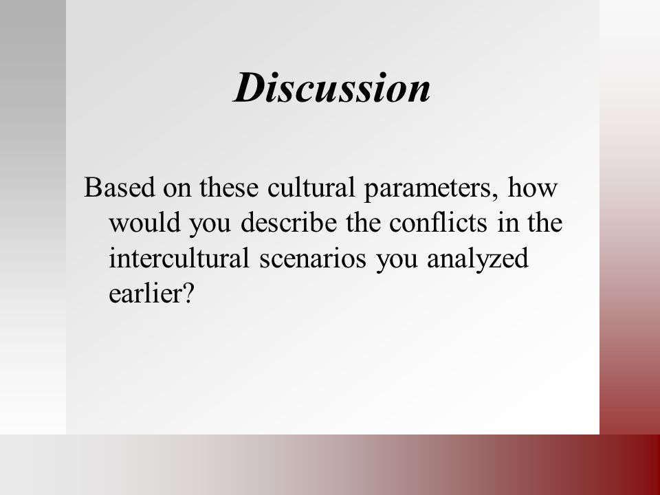 Discussion Based on these cultural parameters, how would you describe the conflicts in the intercultural scenarios you analyzed earlier