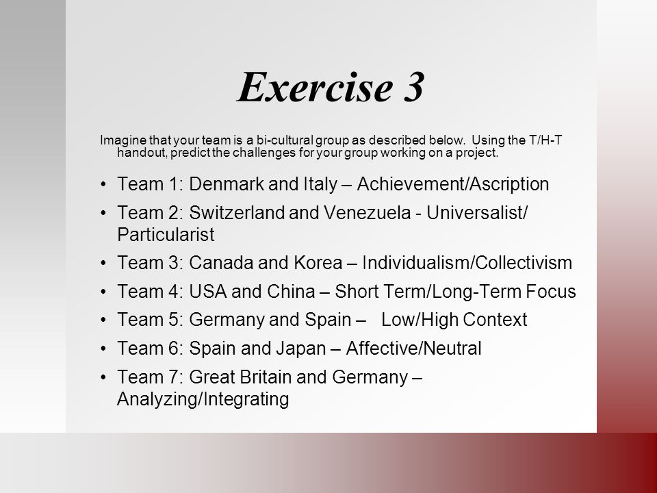 Exercise 3 Team 1: Denmark and Italy – Achievement/Ascription