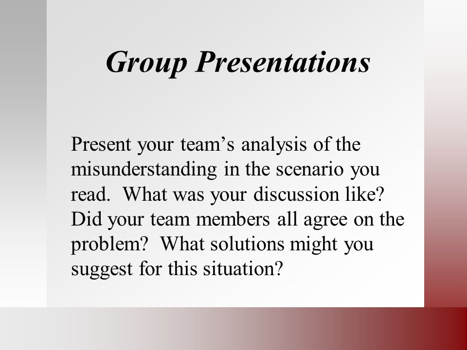 Group Presentations