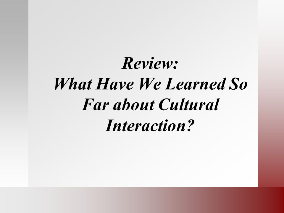 Review: What Have We Learned So Far about Cultural Interaction