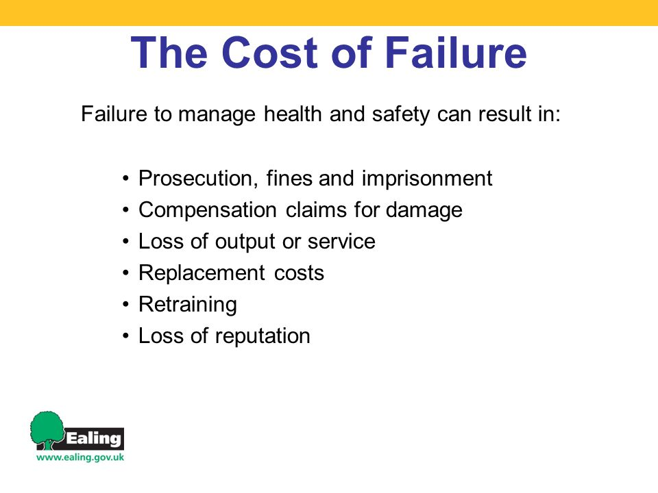 The Cost of Failure Failure to manage health and safety can result in: