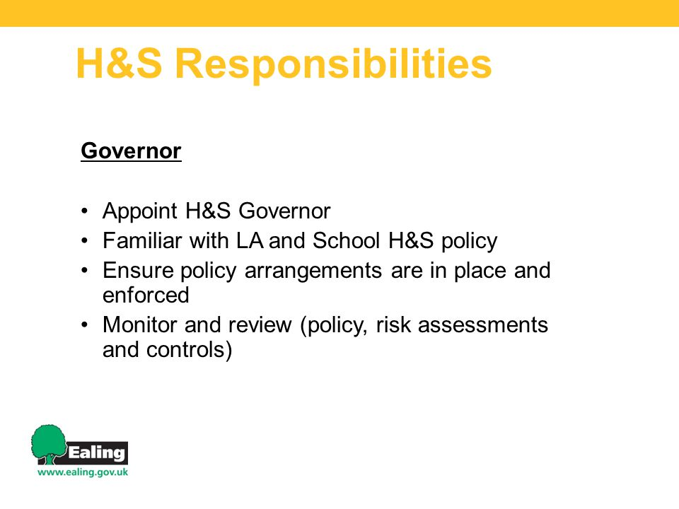 H&S Responsibilities Governor Appoint H&S Governor