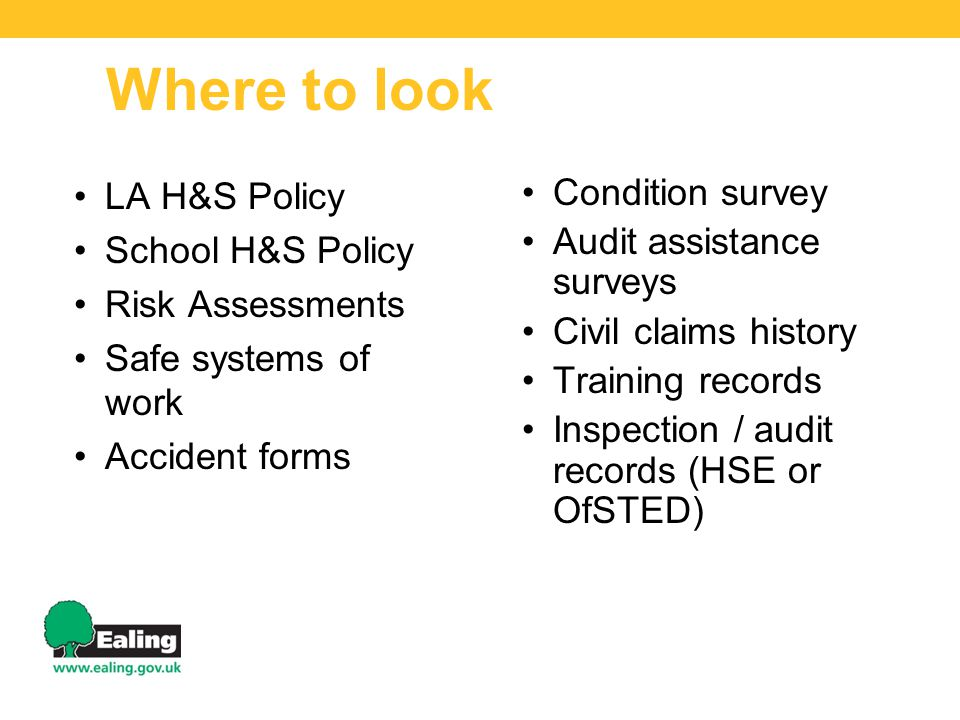 Where to look LA H&S Policy School H&S Policy Risk Assessments