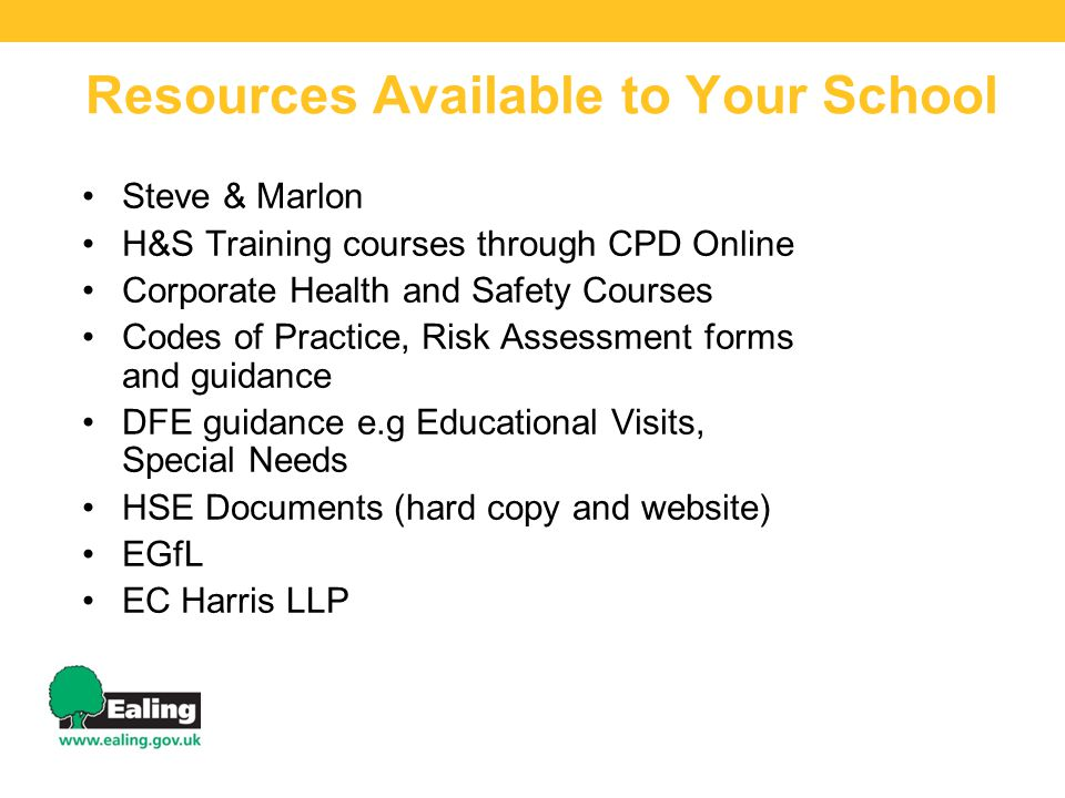 Resources Available to Your School