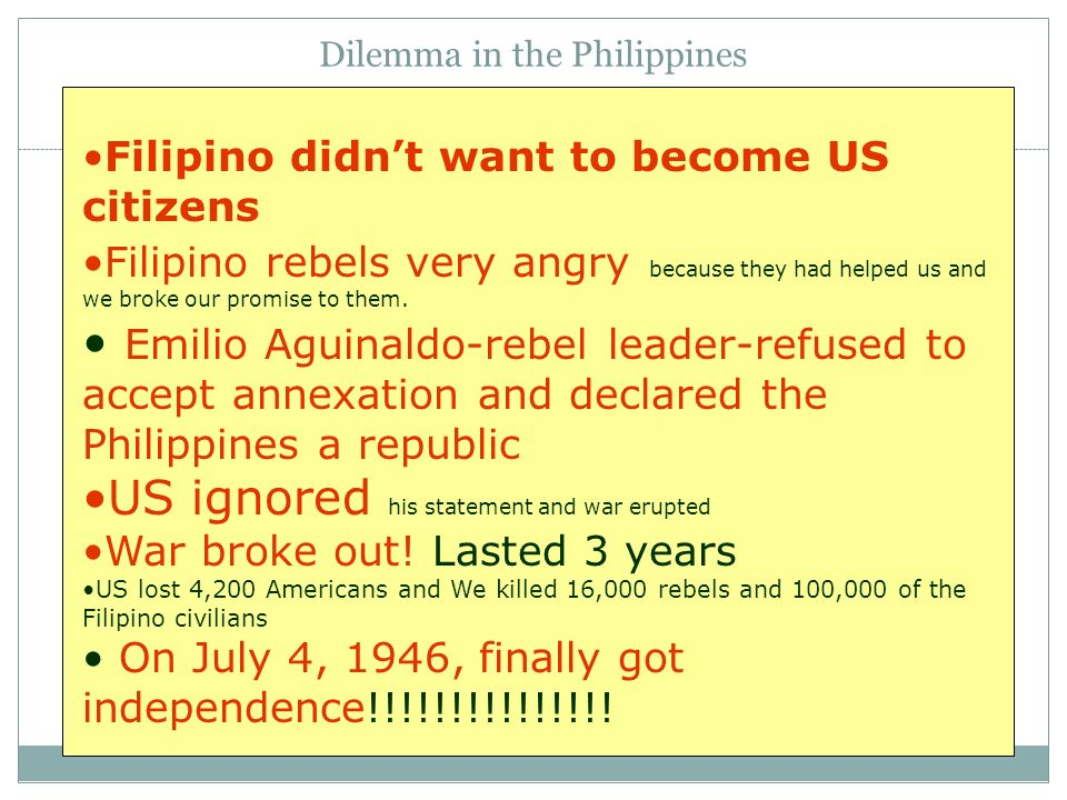 Dilemma in the Philippines