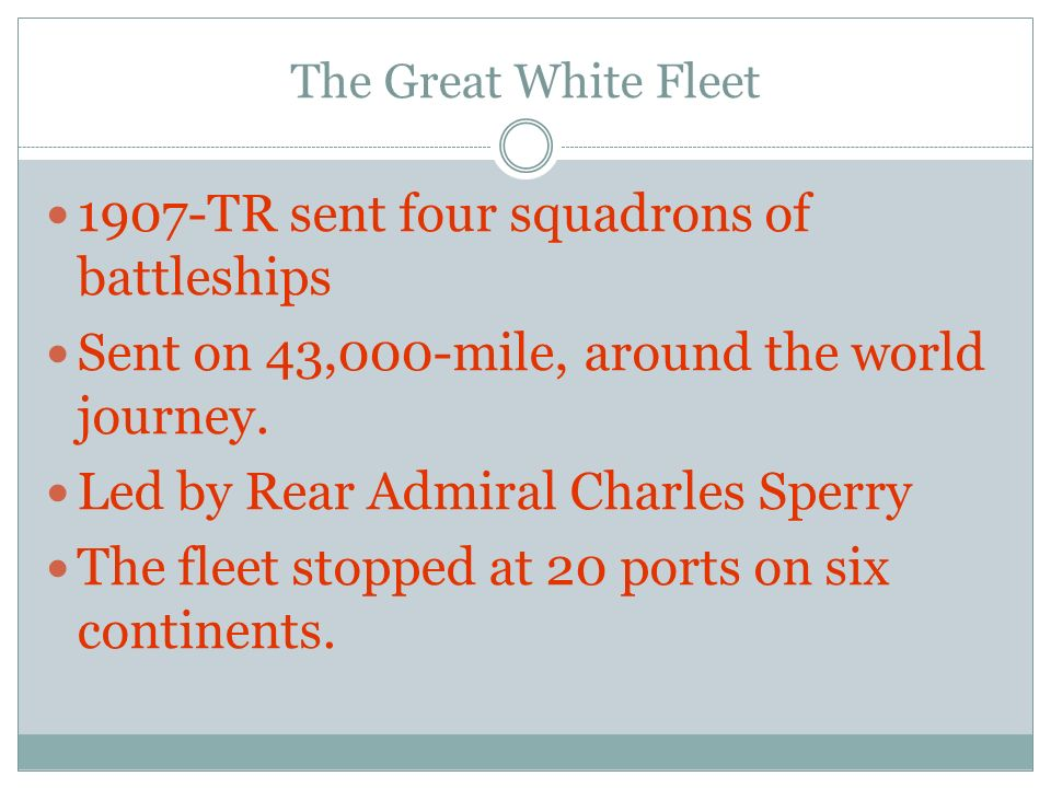 1907-TR sent four squadrons of battleships